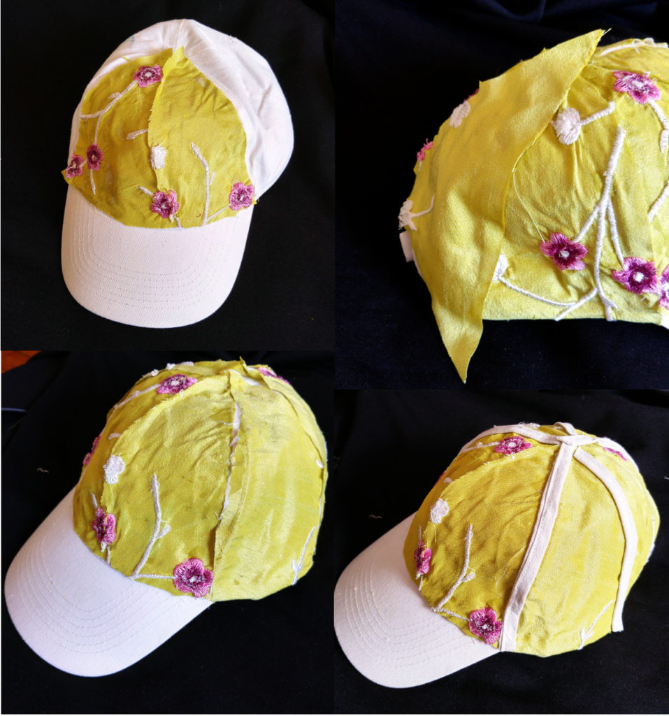A cap in your own design. Use glue and a fabric you like